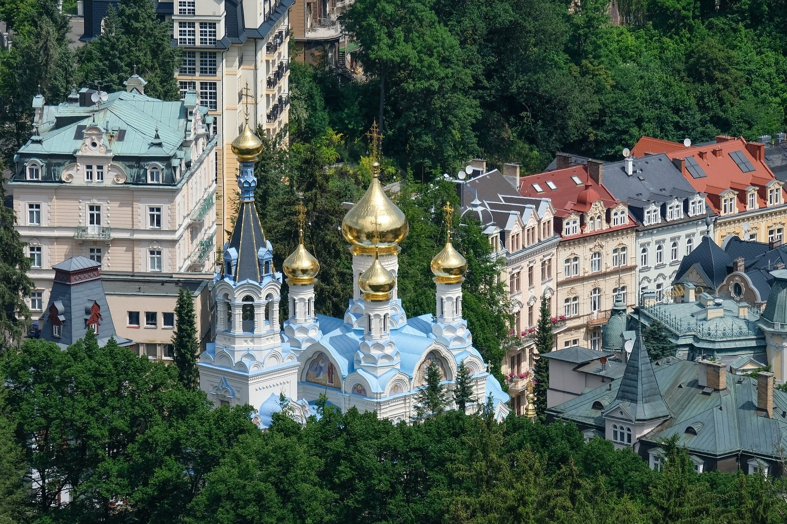 Looking down on Karlovy Vary from the sky on the Russian Orthodox Church