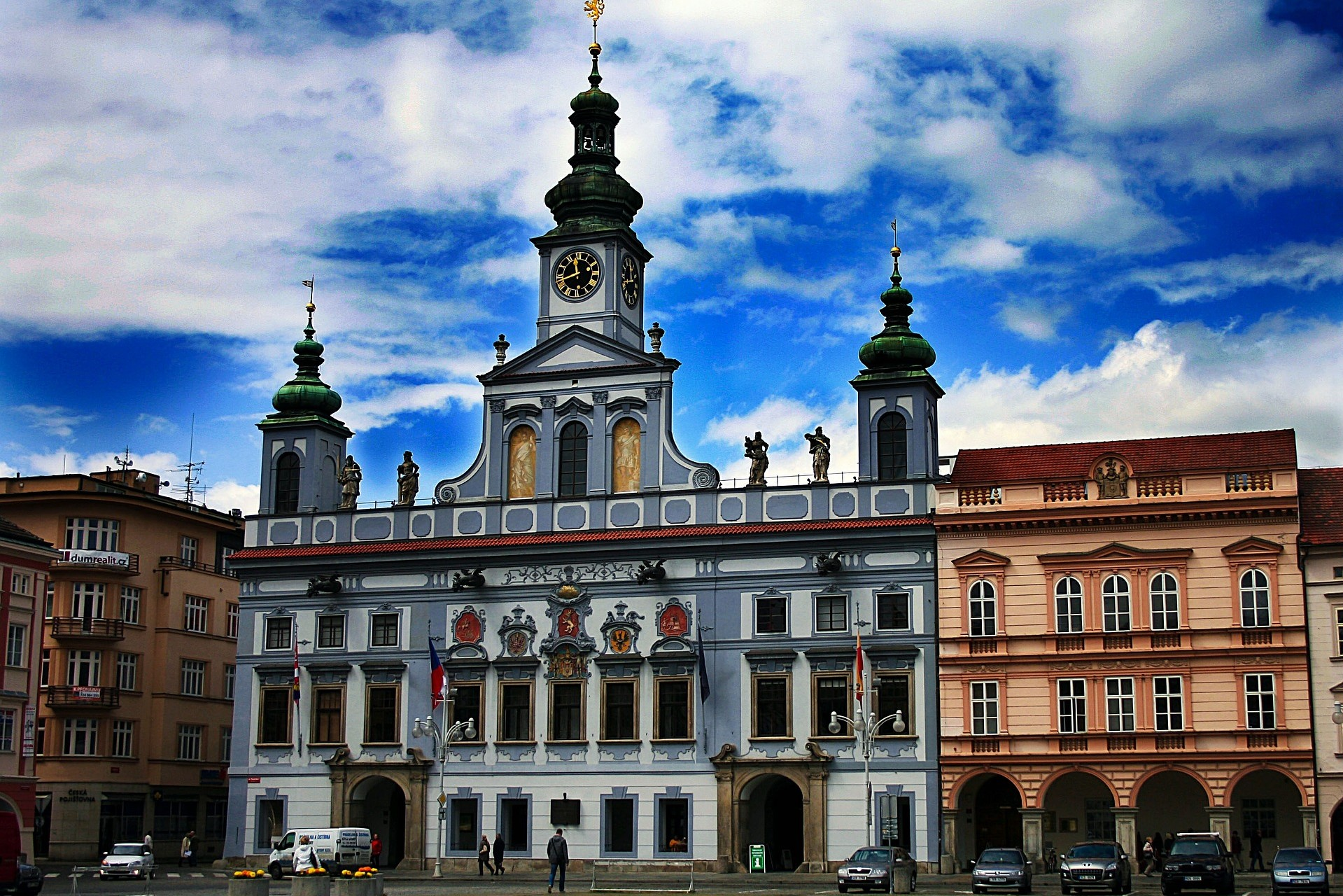 Beautiful facades line the České Budějovice main square.