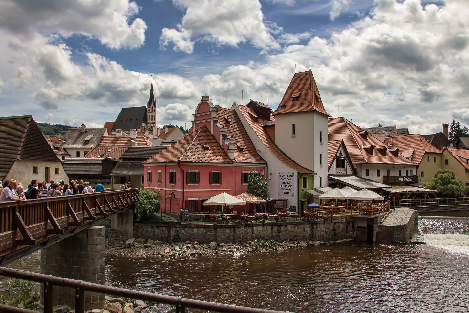 Bridge crossing the Vltava River in Cesky Krumlov, pearl of South Bohemia in Czech Republic.