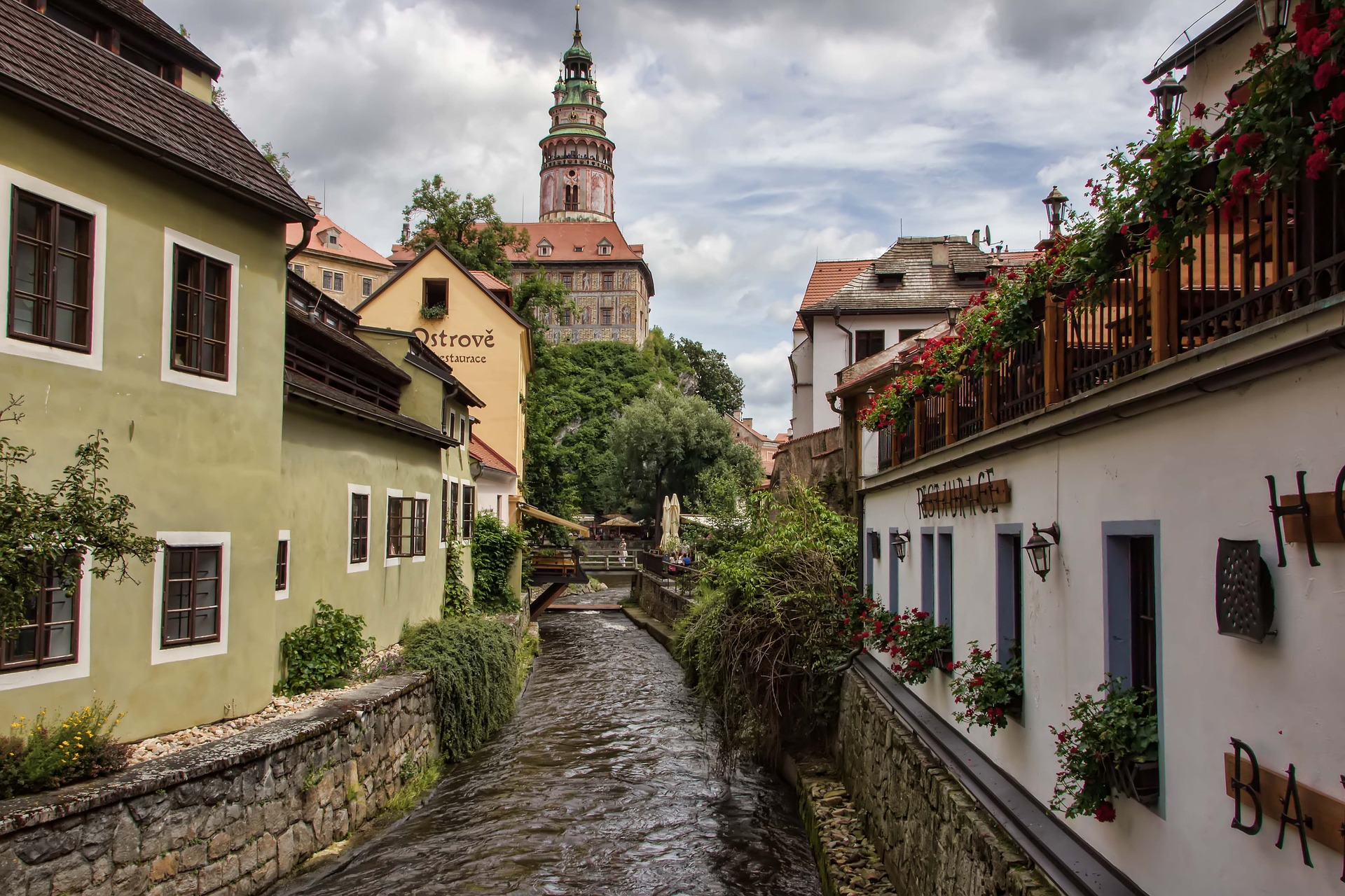 a canal running through Český Krumlov, south Bohemia, lined with beautiful traditional houses.