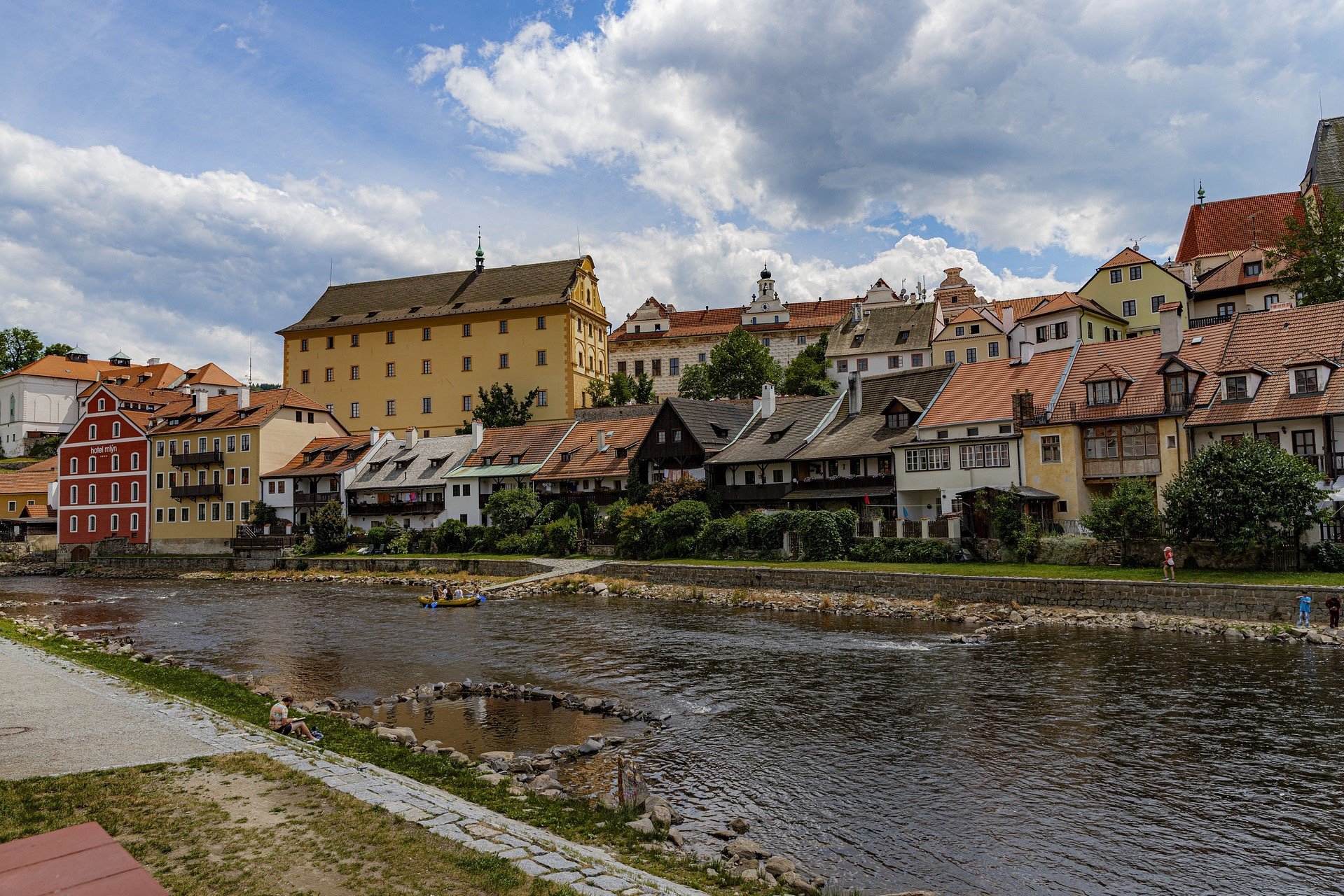 Colorful houses lining the Vltava River in Cesky Krumlov, south Bohemia