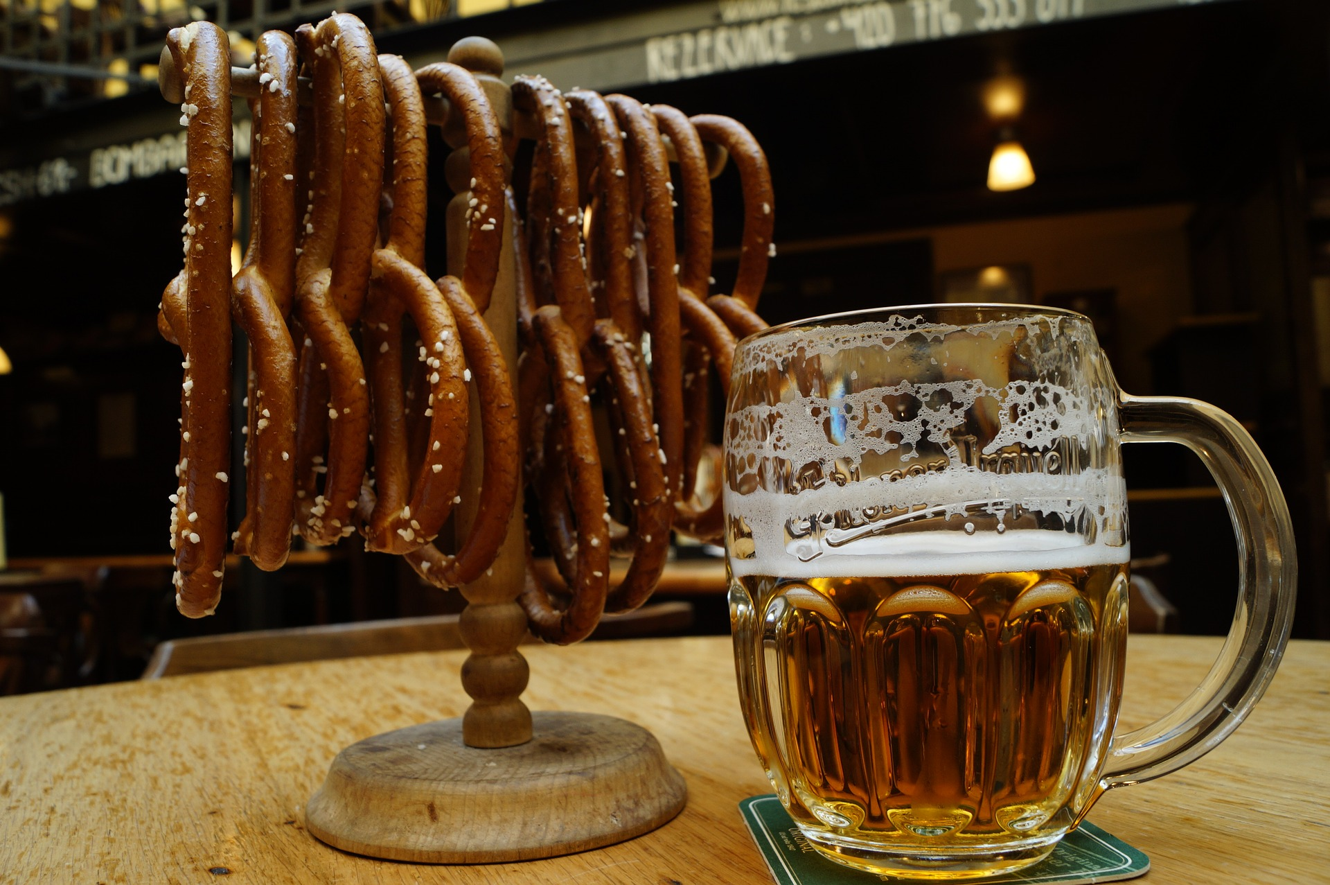 Czech beer and pretzels make the perfect midday snack in Prague