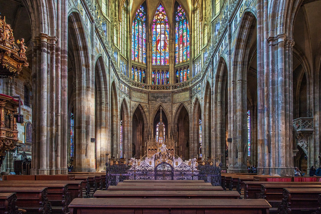 The inside of the St. Vitus Cathedral in the Prague Castle
