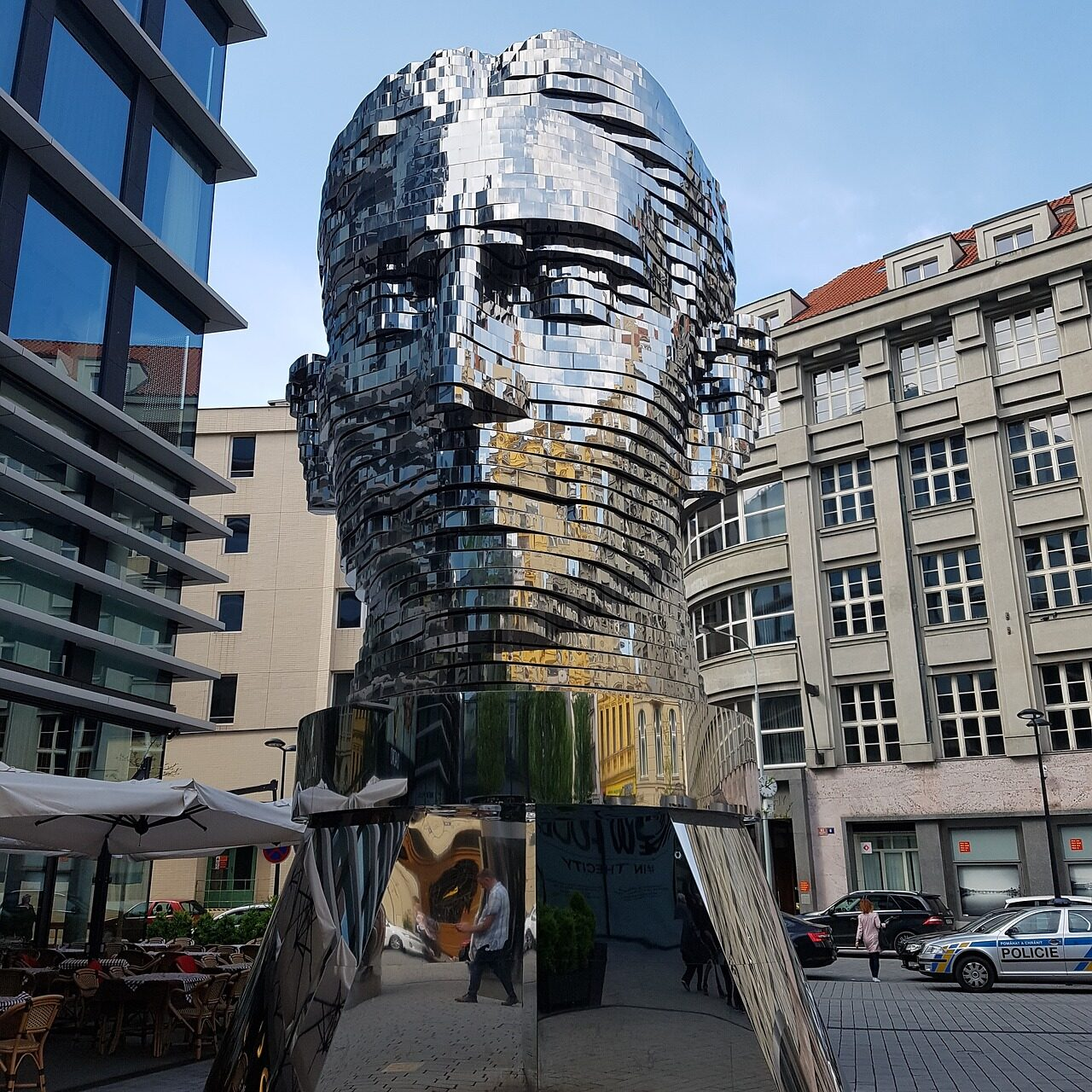 Franz Kafka Head statue in Prague, rotates constantly, so that the face is not always visible.