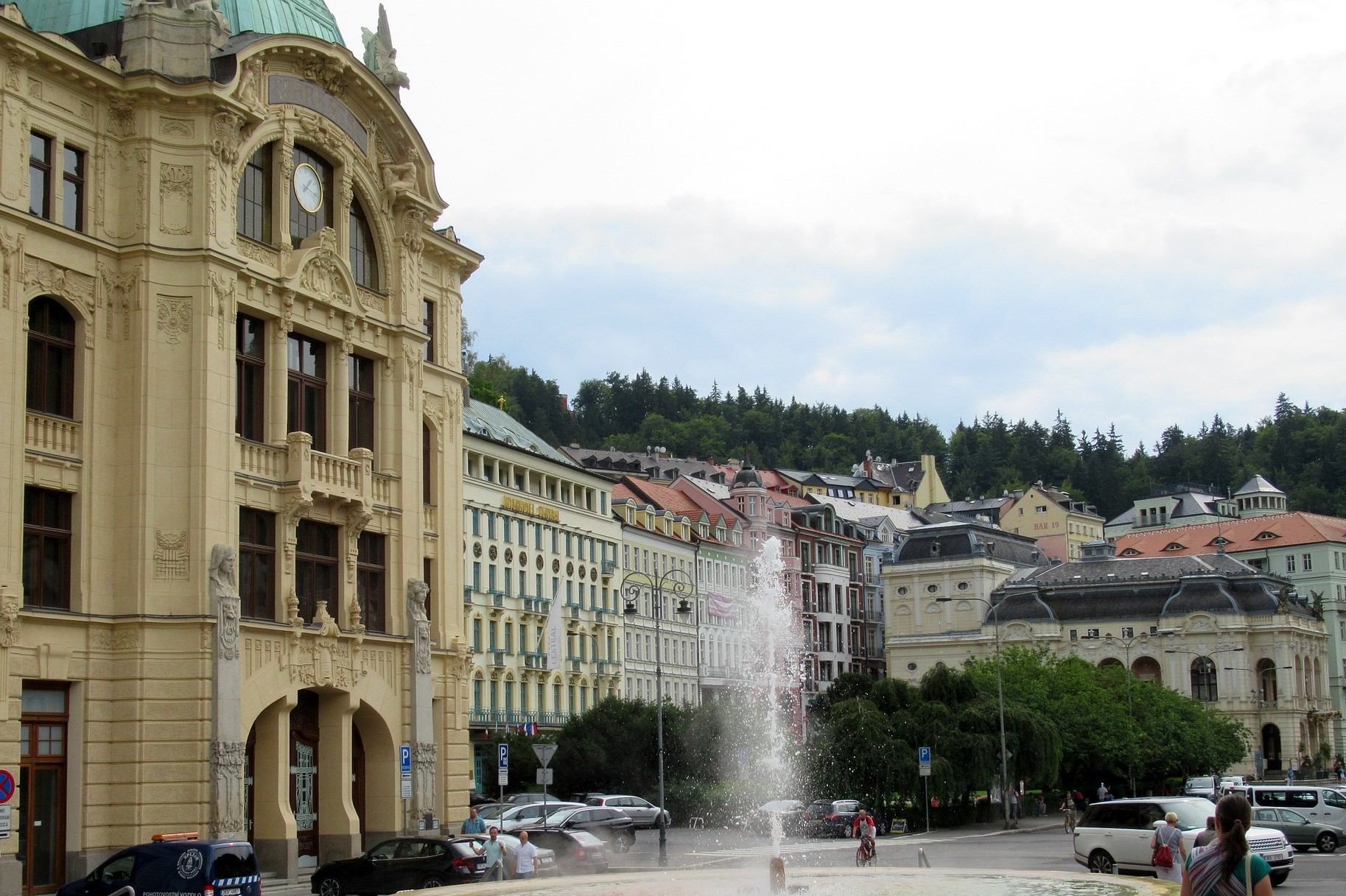 Main square in Karlovy Vary with hot springs.