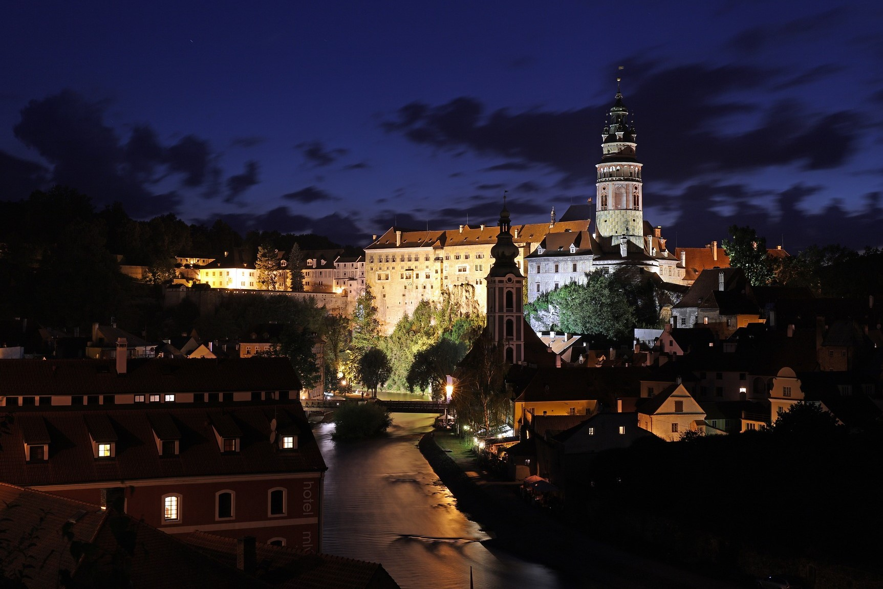 Beautiful night view of the castle in Český Krumlov.