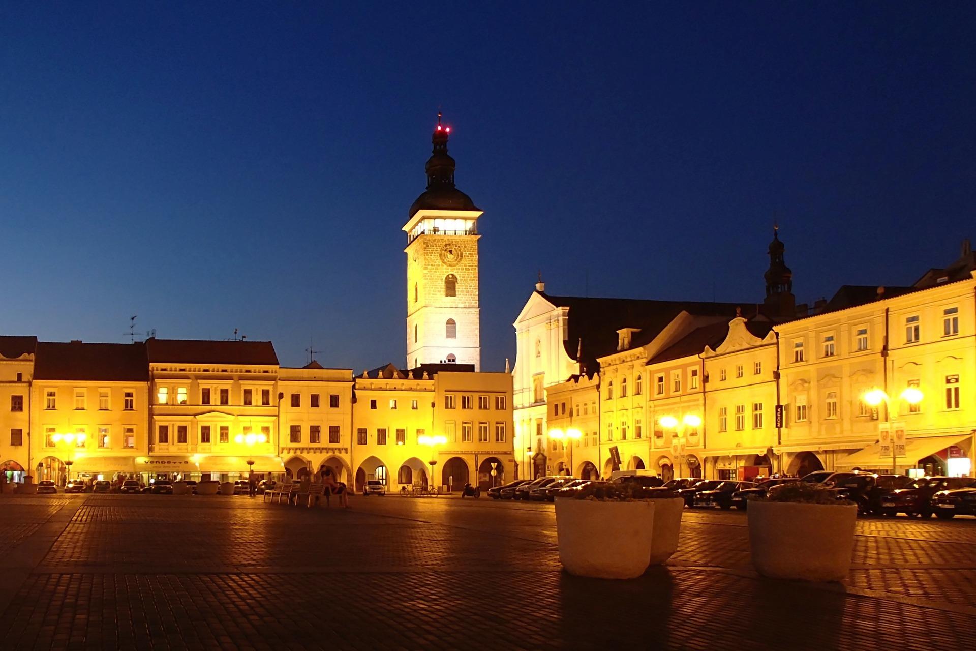 Night view of České Budějovice's main square.