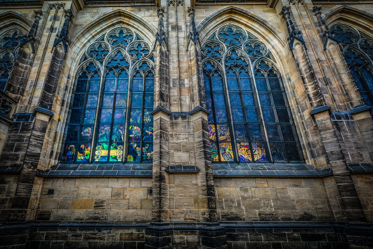 Gorgeous stainglass windows in a Prague church