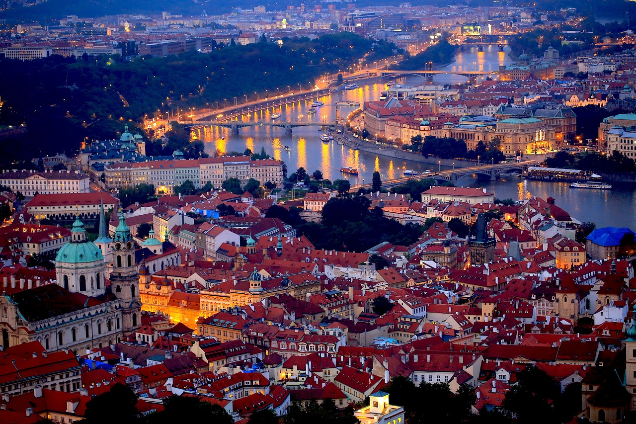 View from the Prague Castle upon Prague at night