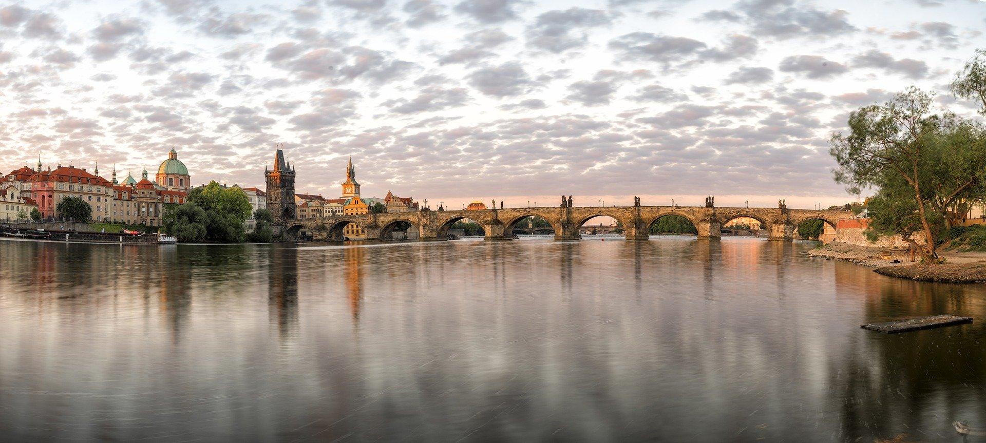 View of Charles Bridge from the Vltava River in Prague