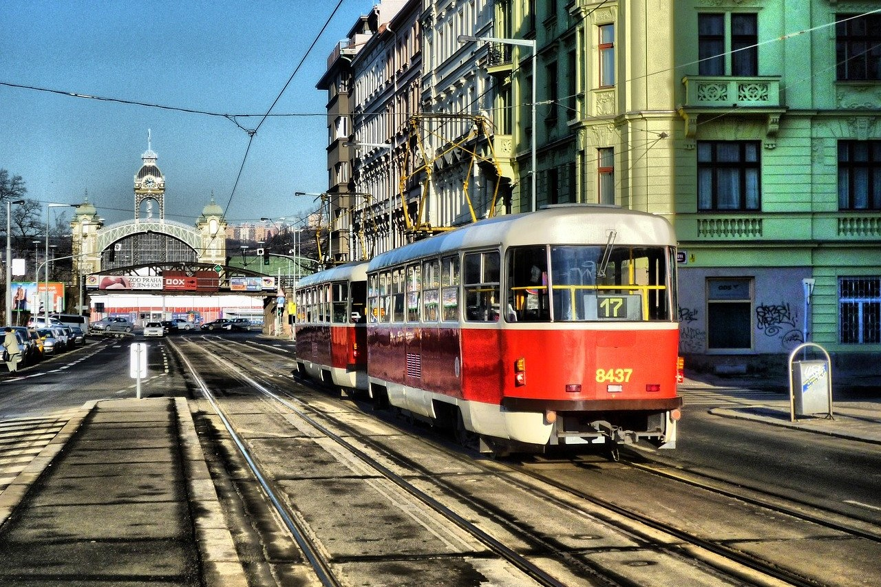 The famous Prague tram passing through Holešovice, Prague 7.