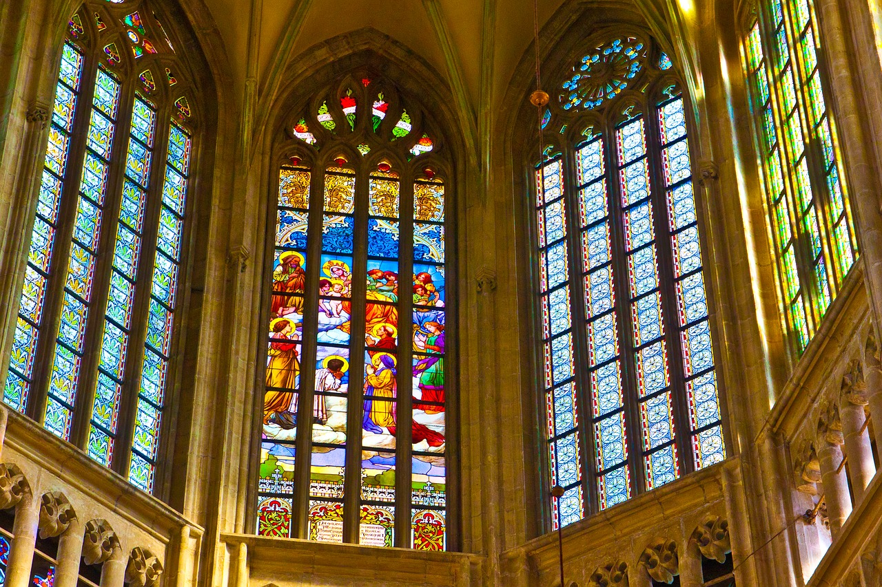 Stain glass windows in St. Barbara Cathedral in Kutna Hora