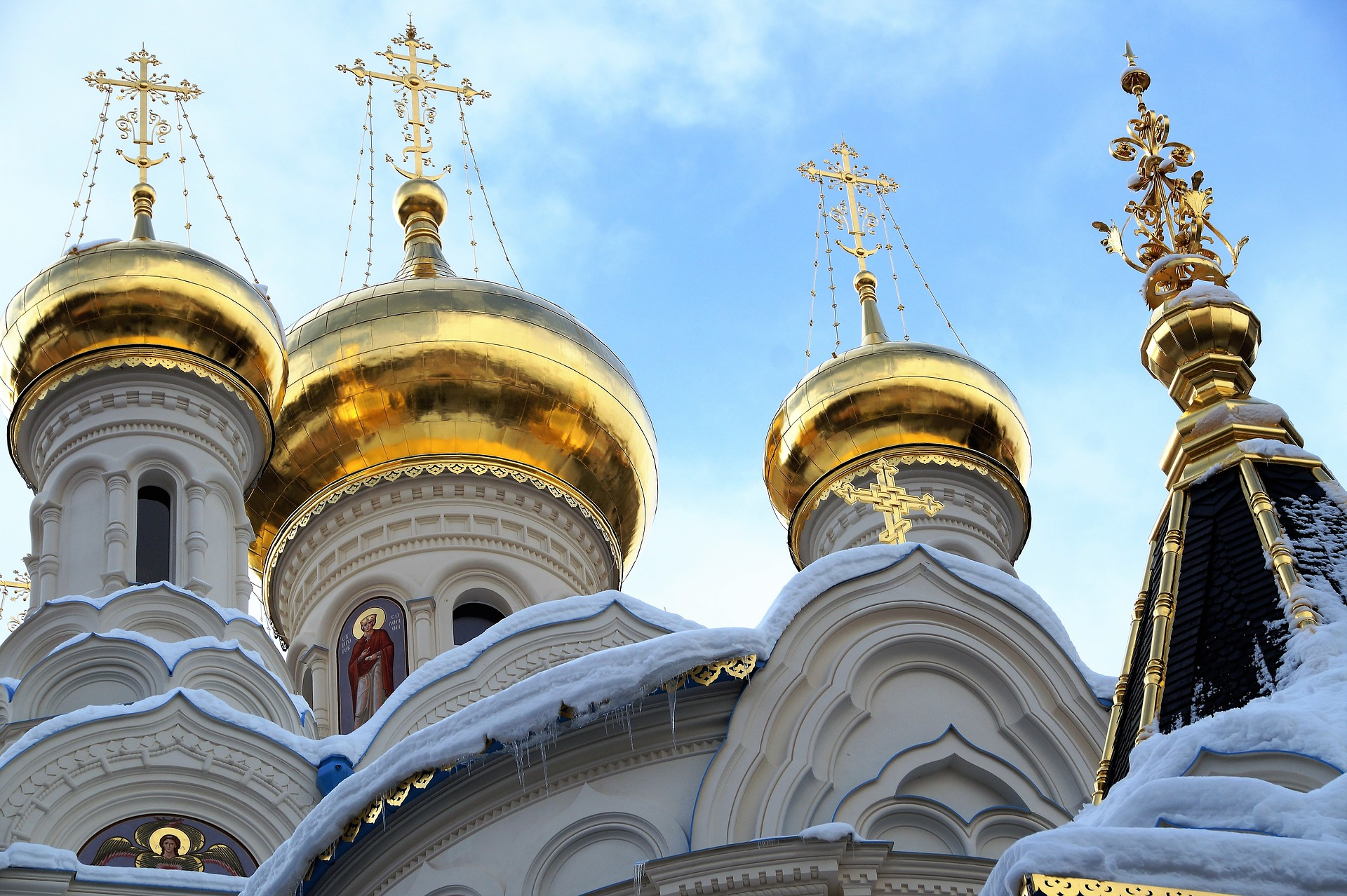 The spires of the Russian Orthodox Church in Karlovy Vary