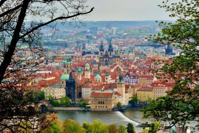 View of Prague from Petrin Hill, looking at the Vltava River and Staroměstské Náměstí. (Old Town)