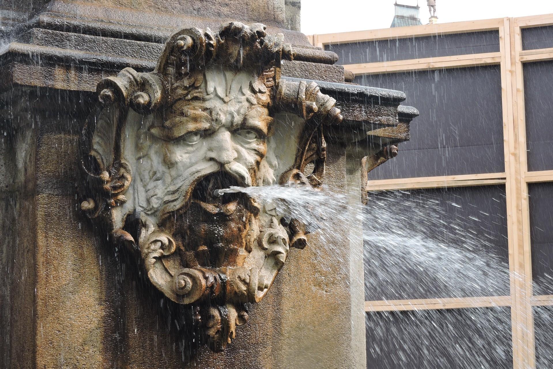 Water fountain spouting water in České Budějovice