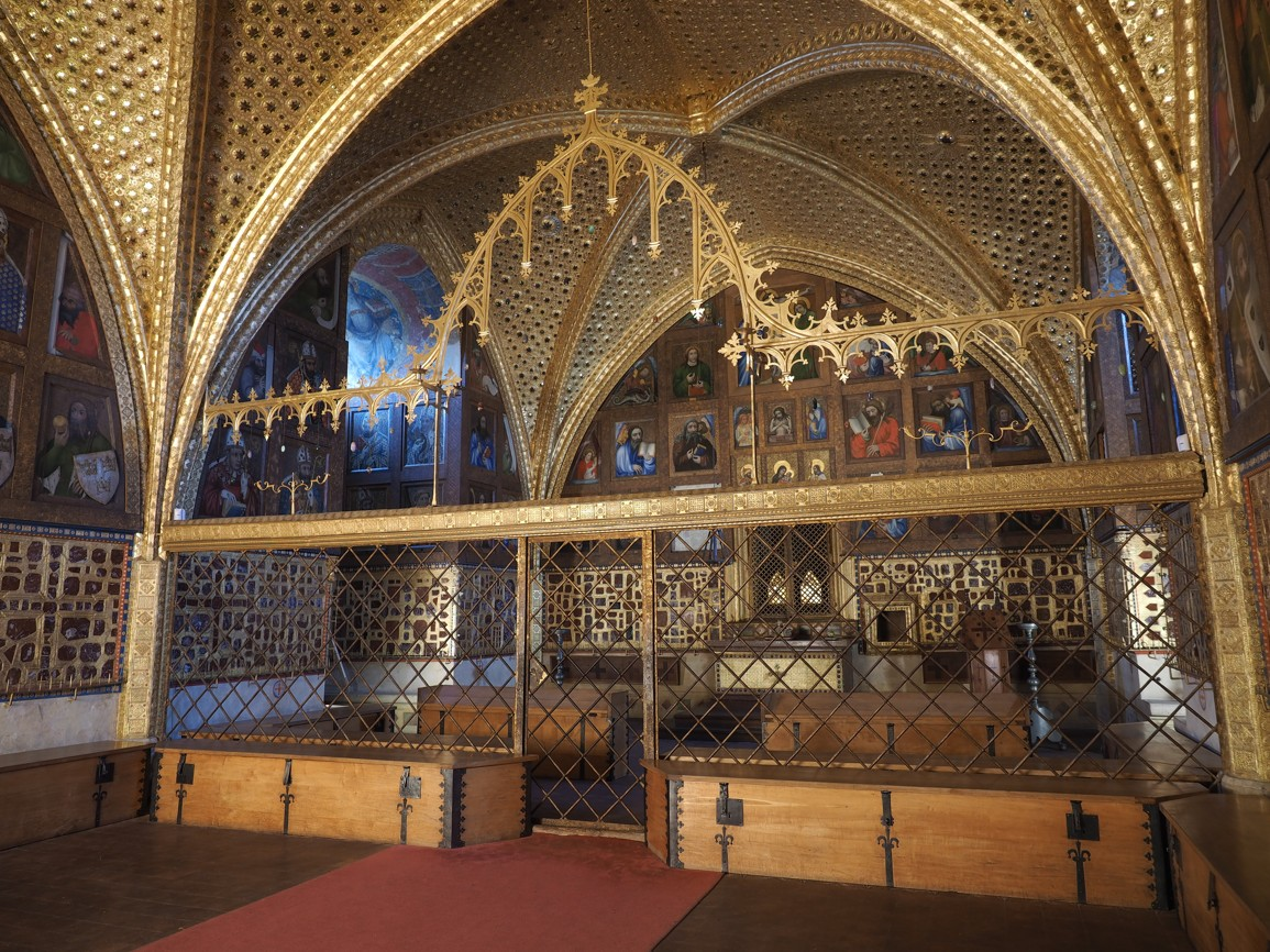 The ornate decorations inside Karlštejn Castle show off the elaborate nature of the place.