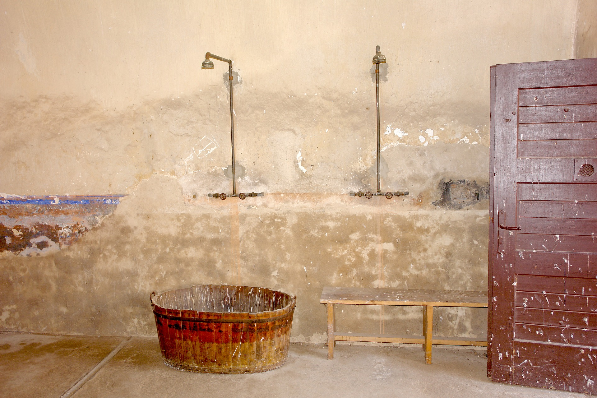 Showers once used in the Terezín concentration camp, north of Prague, northern Czech Republic.