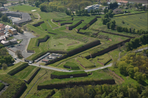 Terezín Fortress is a beautiful site from the air. Its walls form a 12 pointed star.