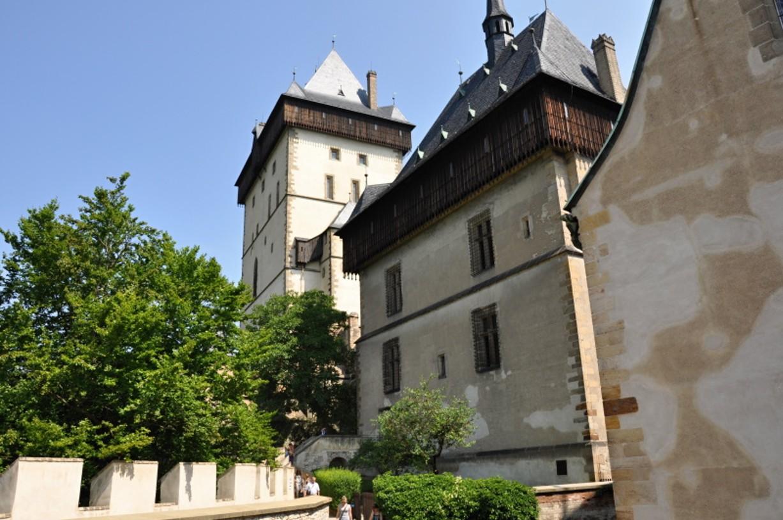 Inside the courtyard of Karlštejn Castle with it's impressive towers.