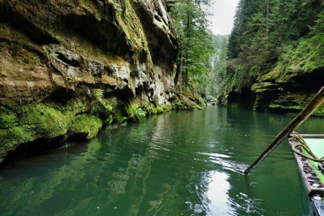 A boat trip through a gorge in Bohemian Switzerland, northern Czech Republic.