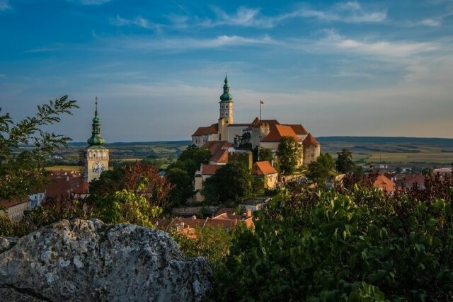 Mikulov Castle in south Moravia, in the middle of wine country.