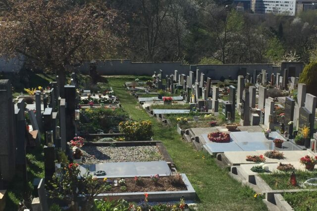 A cemetery in Prague, decorated with flowers for Easter.