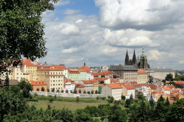 A view of the Prague Castle from Petrin Hill in Prague.
